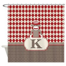 Retro K Monogram Sock Monkey Argyle Shower Curtain