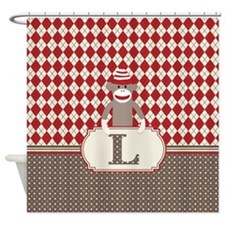 Retro L Monogram Sock Monkey Argyle Shower Curtain