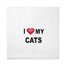 I LOVE MY CATS Queen Duvet