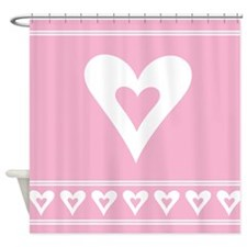 Pink Love Heart Bath Shower Curtain