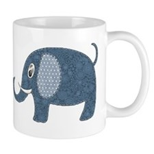 Dark Blue Floral Elephant with Polka Dot Ears Small Mug