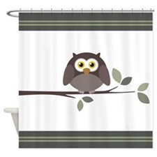 Funny Owl on a Branch Shower Curtain