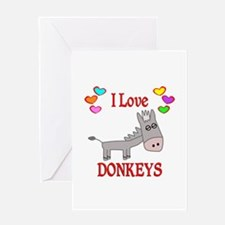 I Love Donkeys Greeting Card