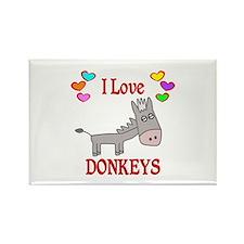 I Love Donkeys Rectangle Magnet