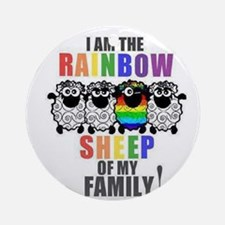 Rainbow Family Sheep Ornament (Round)
