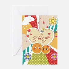 cute smiley couple i love you Greeting Card