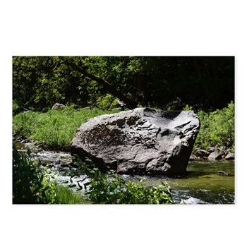 This large rock is set in the center of a shallow river along the road into Yosemite National Park and is surrounded by beautiful lush greens.