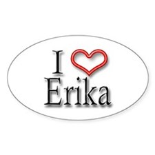 I Heart Erika Oval Decal