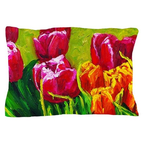 Tulip Watercolor Painting Pillow Case