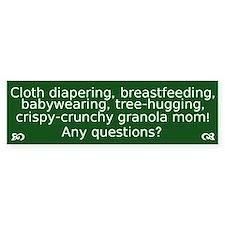 Cloth Diaper Attachment Parenting Bumper Bumper Sticker