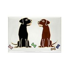 Black and Chocolate Labrador Retr Rectangle Magnet