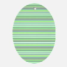 Retro Green Pinstripes Oval Ornament