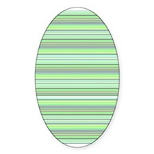 Retro Green Pinstripes Oval Decal