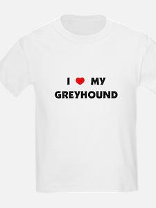 I Love my Greyhound Kids T-Shirt