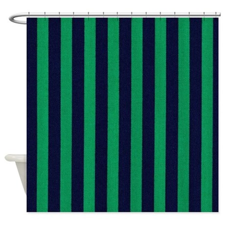 Classic Green And Dark Blue Striped Shower Curtain By Stripstrapstripes