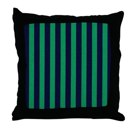 Blue And Green Striped Throw Pillows : Classic green and dark blue striped Throw Pillow by stripstrapstripes