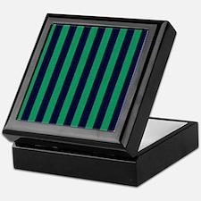 Classic green and dark blue striped Keepsake Box
