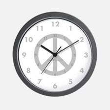 Gray Peace Sign Wall Clock