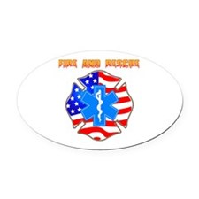 Fire and Rescue Emblem Oval Car Magnet