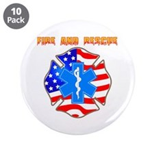"""Fire and Rescue Emblem 3.5"""" Button (10 pack)"""