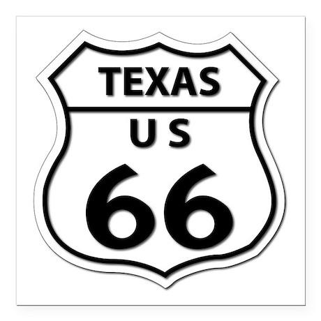 "U.S. ROUTE 66 - TX Square Car Magnet 3"" x 3"""