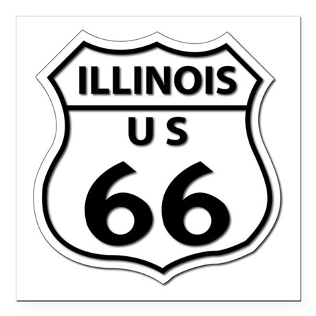 "U.S. ROUTE 66 - IL Square Car Magnet 3"" x 3"""