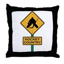 Hockey Country Road Sign Throw Pillow