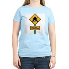 Hockey Country Road Sign Women's Pink T-Shirt