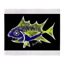 Retro Tuna 1 Art Throw Blanket