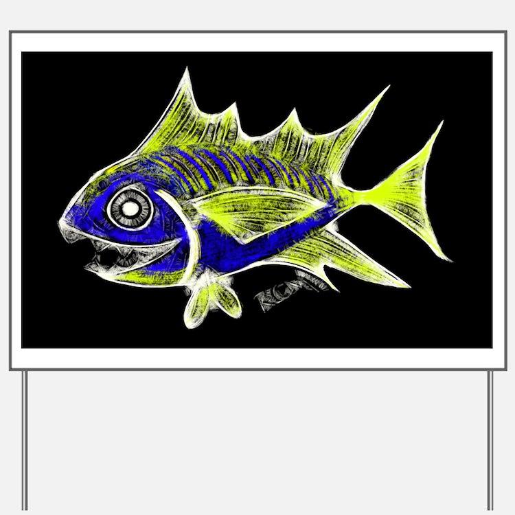 Retro Tuna 1 Art Yard Sign