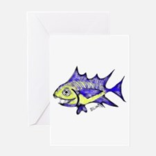 Retro Fish Tuna 2 White Background Greeting Card