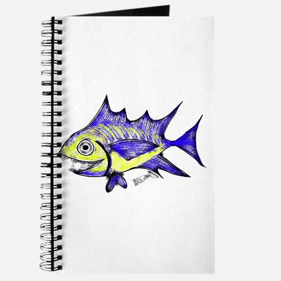 Retro Fish Tuna 2 White Background Journal