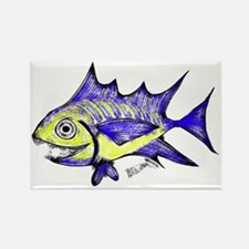 Retro Fish Tuna 2 White Background Rectangle Magne