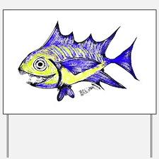 Retro Fish Tuna 2 White Background Yard Sign