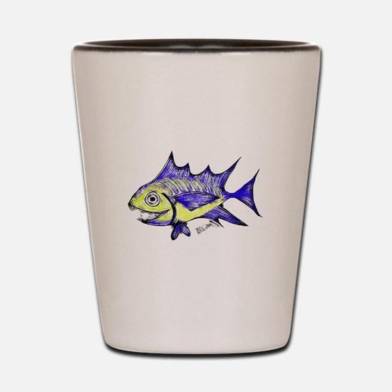 Retro Fish Tuna 2 White Background Shot Glass