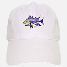 Retro Fish Tuna 2 White Background Baseball Baseball Baseball Cap