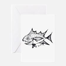 Tuna Fish black and white Greeting Card