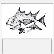 Tuna Fish black and white Yard Sign