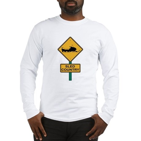 Sled Country Road Sign Long Sleeve T-Shirt