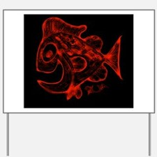 Happy Fish Abstract Art Red Yard Sign