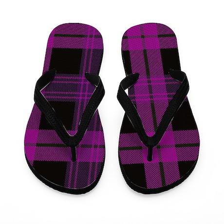Pink Black Tartan Plaid Flip Flops