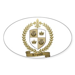 RINGUETTE Family Crest Oval Decal