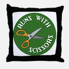 Sew Sassy - Runs With Scissors Throw Pillow