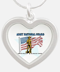 Army National Guard Silver Heart Necklace