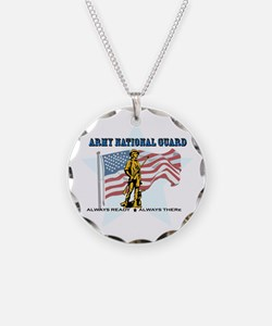 Army National Guard Necklace Circle Charm