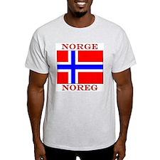 Norge Flag Noreg Ash Grey T-Shirt