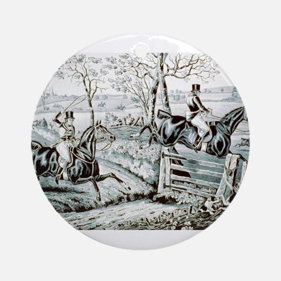 Fox chase - In full cry - 1846 Round Ornament