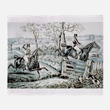 Fox chase - In full cry - 1846 Throw Blanket