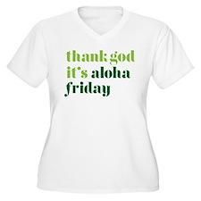 Thank God Its Aloha Friday Green Plus Size T-Shirt