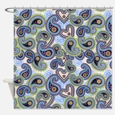 Blue And Green Paisley Pattern Shower Curtain